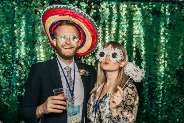 green sequins photo booth