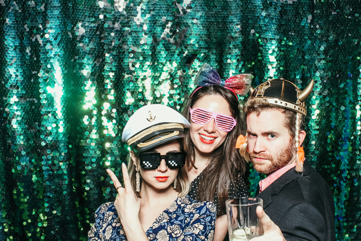 elmore court wedding photo booth hire with mad hat photo booth and green sequins backdrop