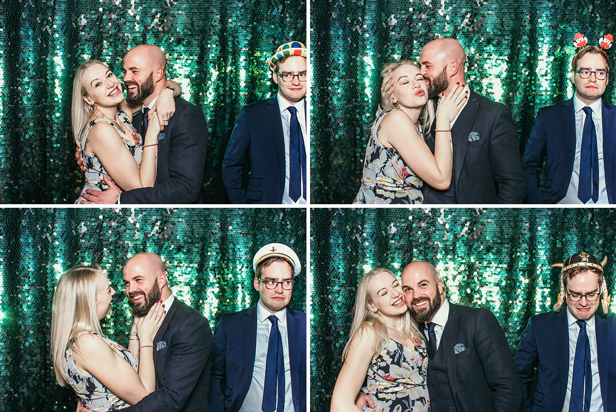 fun photo booth poses for an elmore court wedding event in gloucestershire with Mad Hat Photo Booth