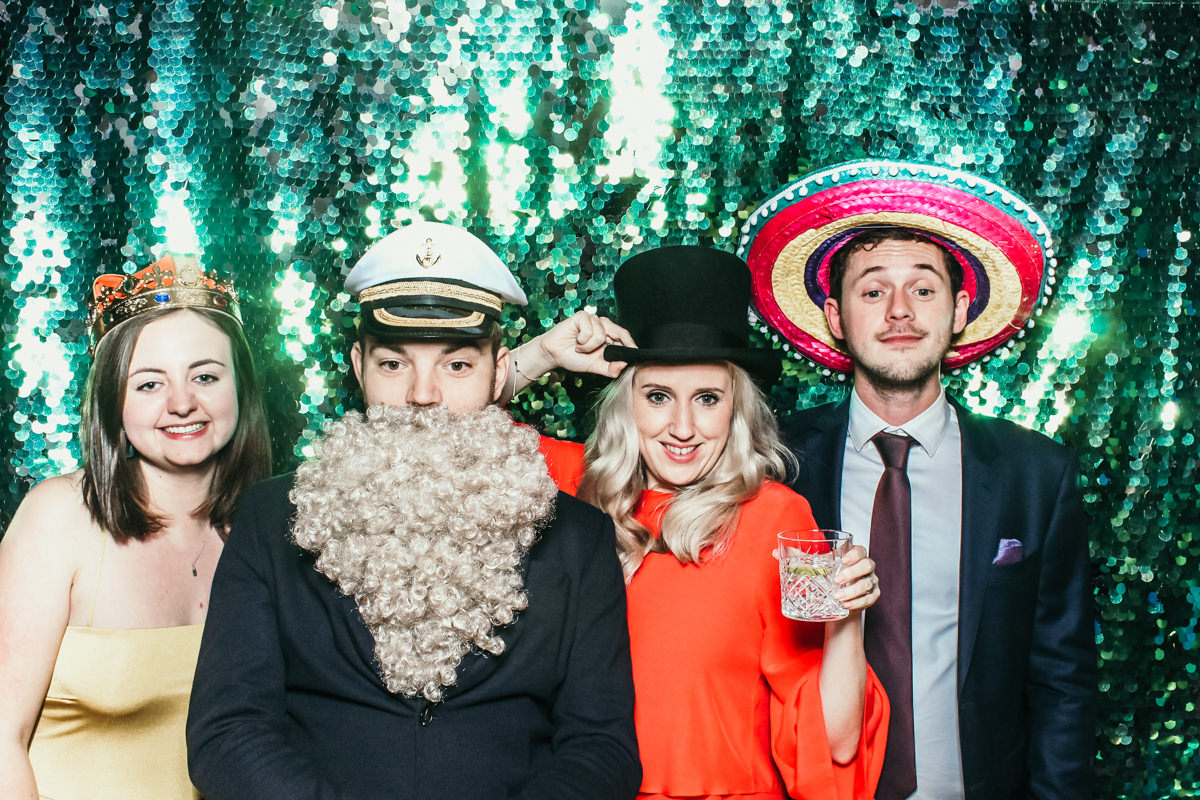 wigs and beards for a mad hat photo booth hire at elmore court wedding venue