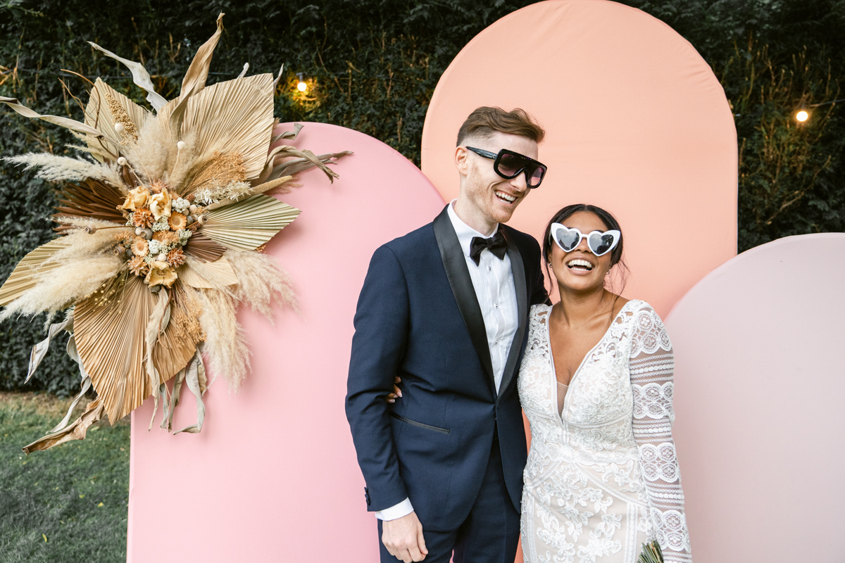 Cotswolds based modern photo booth backdrop with arches